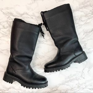 LL Bean Black Leather Fleece Lined Winter Boots